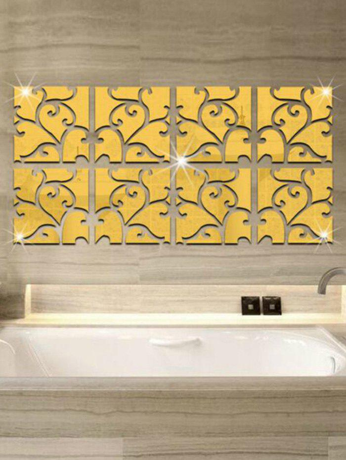 2018 32pcs Vine Pattern Mirror Wall Stickers Art Tile Decals GOLD In ...