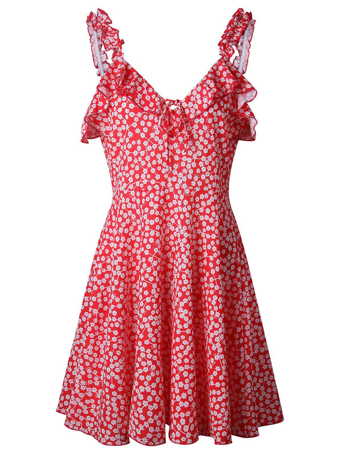 Ruffle Floral Shift Dress - RED XL