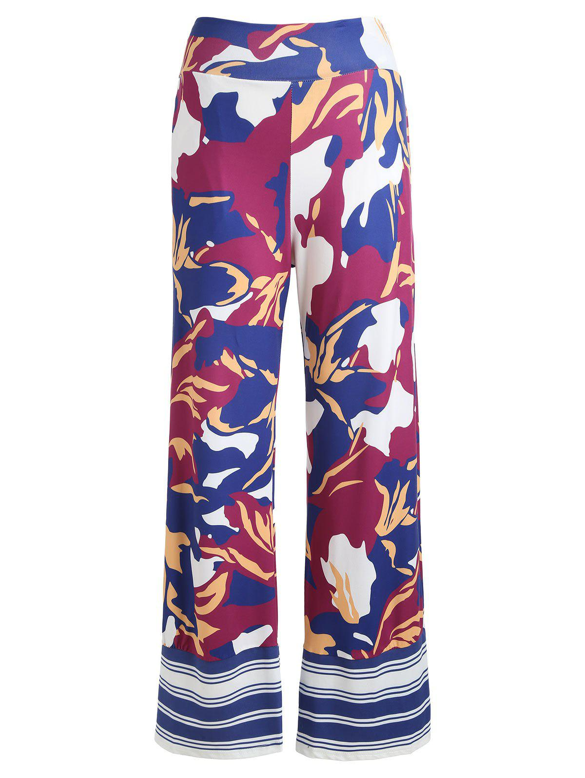 High Waist Floral Palazzo Pants - PURPLE S