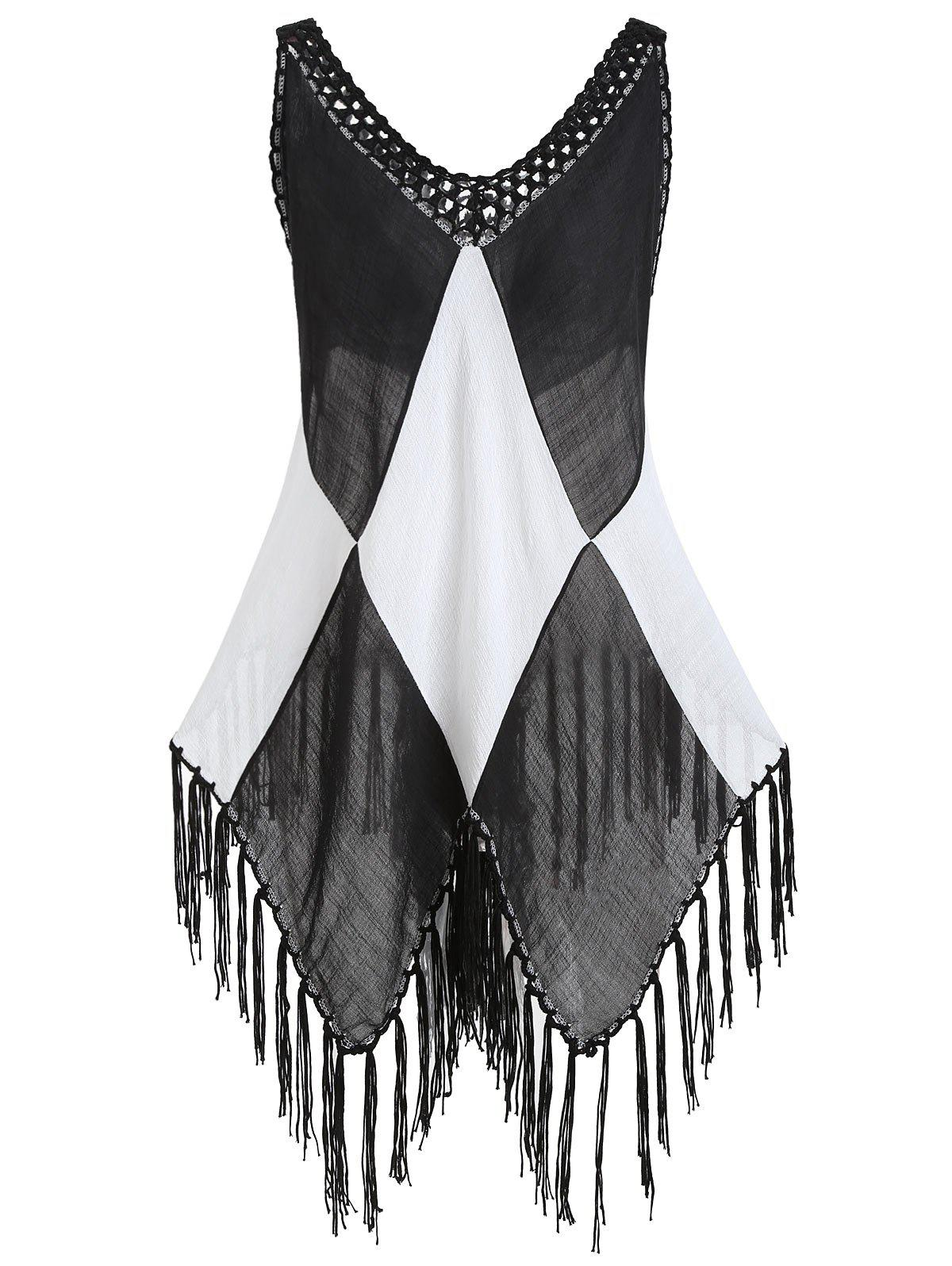 Fringe Two Tone Tunic Cover Up Top - BLACK ONE SIZE