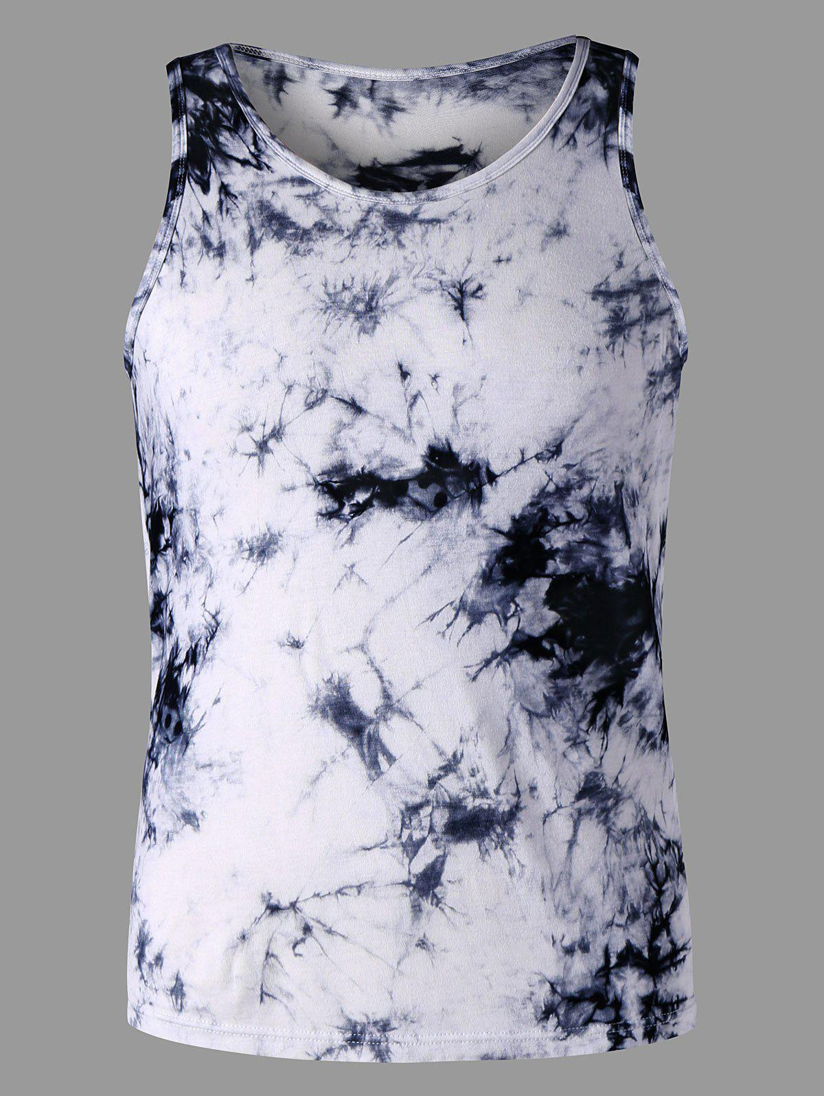 Round Neck Tie Dye Tank Top - COLORMIX M