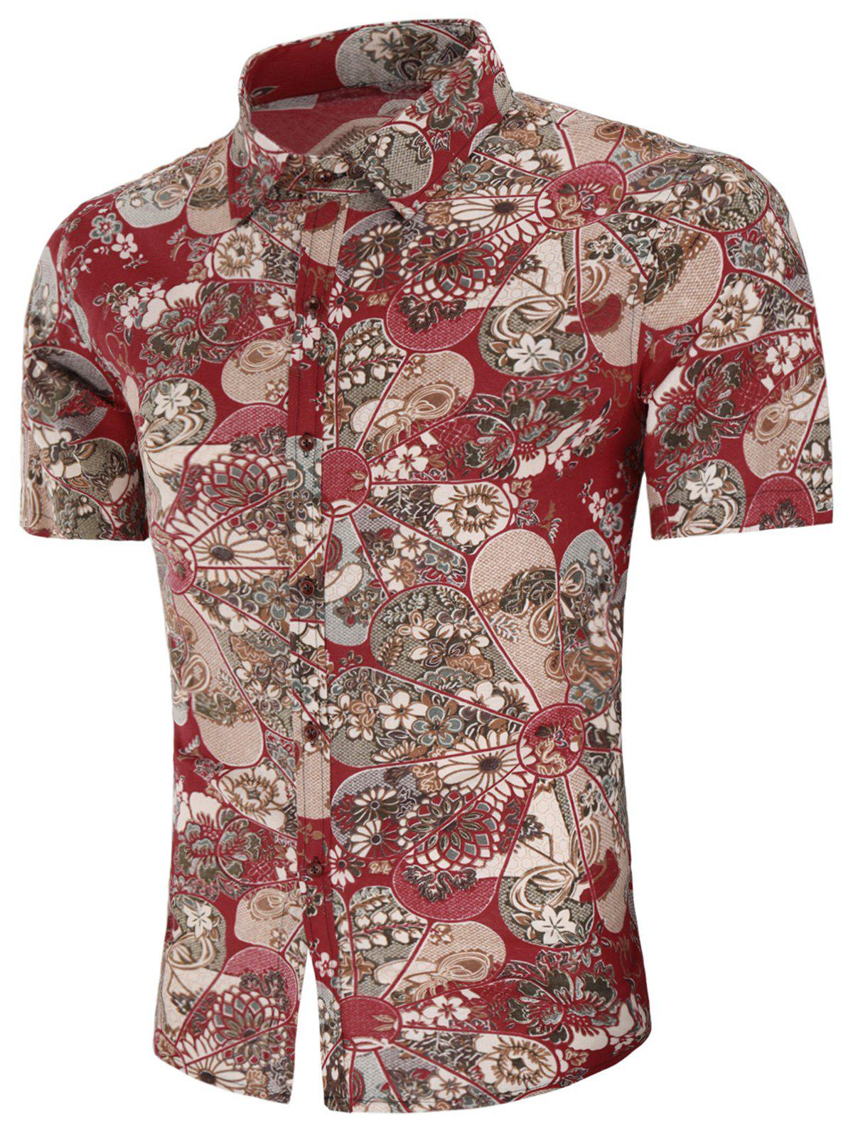 All Over Floral Print Button Up Shirt - multicolor 4XL