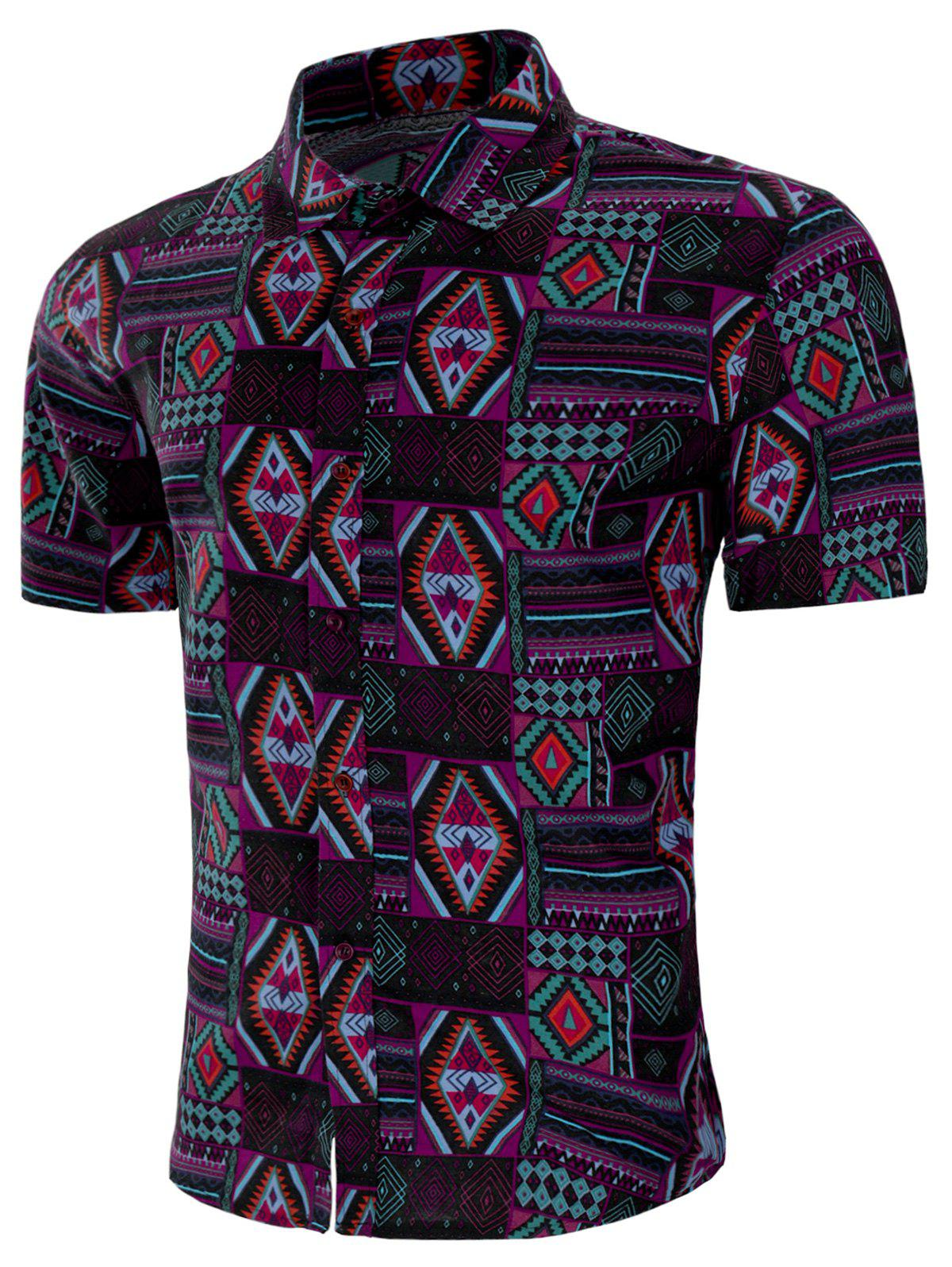 Turn-down Collar All Over Geometric Print Shirt - multicolor L