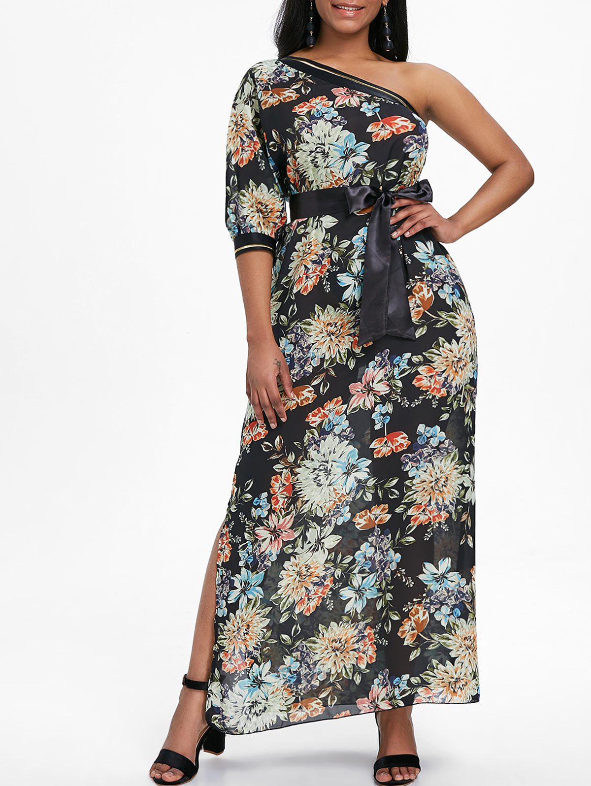 One Shoulder Print Maxi Dress - BLACK 2XL