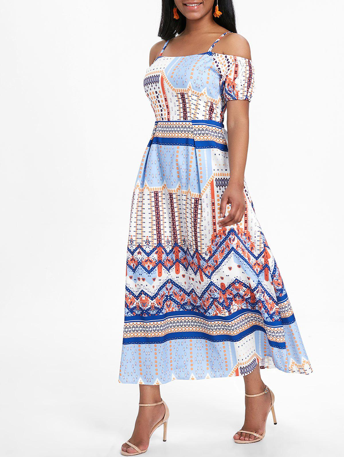 Bohemian Printed Midi Flare Dress - multicolor S