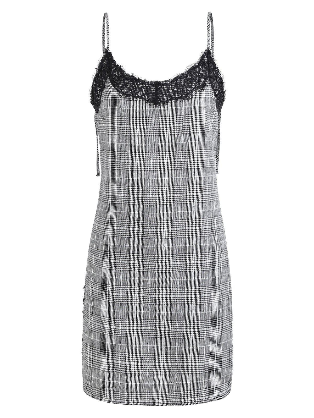 Plaid Backless Mini Cami Dress - GRAY L