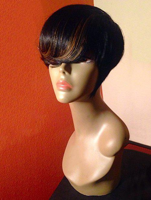 Short Inclined Fringe Colormix Straight Synthetic Wig - BLACK