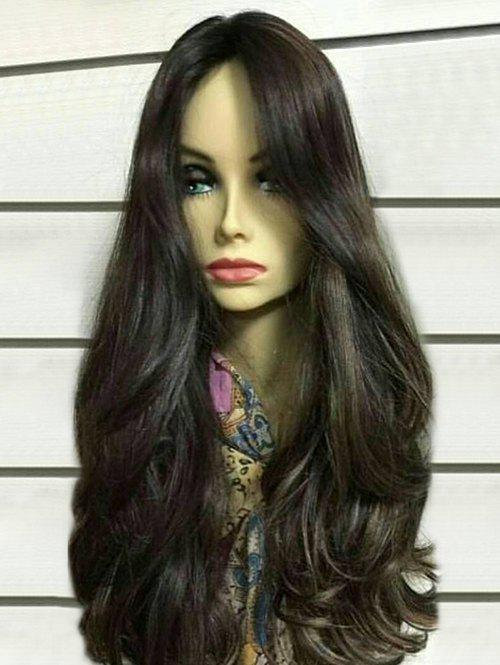 Long Middle Parting Colormix Wavy Synthetic Wig - BLACK CAT
