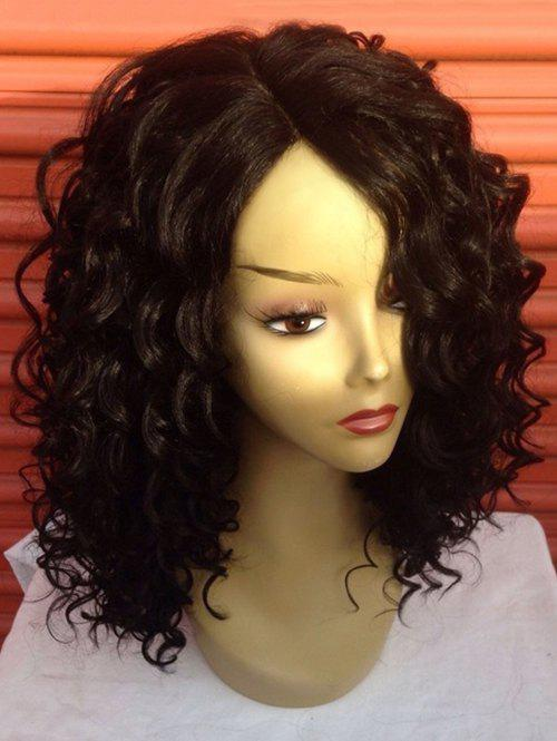 Medium Wavy Synthetic Fiber Wig with Side Parting - BLACK CAT
