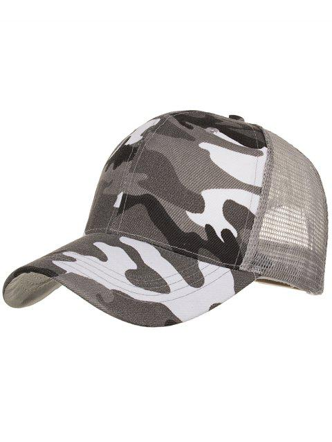 Camouflage Pattern Adjustable Mesh Sunscreen Hat - GRAY