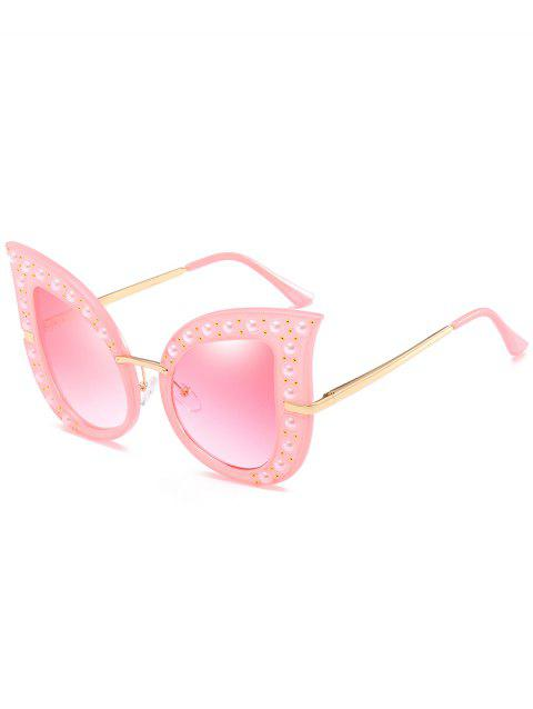 Anti Fatigue Faux Pearl Decorated Sunglasses - MISTY ROSE