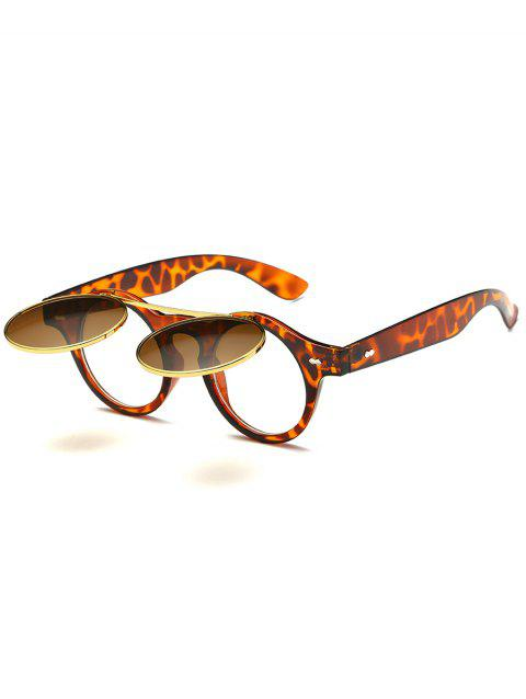 Anti Fatigue Flip Up Flat Lens Circle Sunglasses - LEOPARD/BROWN