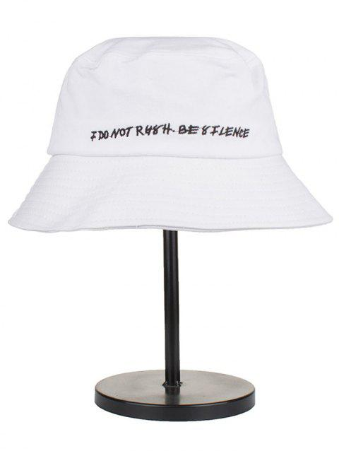 Letter Embroidery Cotton Bucket Hat - WHITE