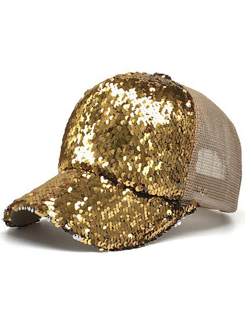 Sequins Decorated Mesh Sunscreen Hat - GOLD
