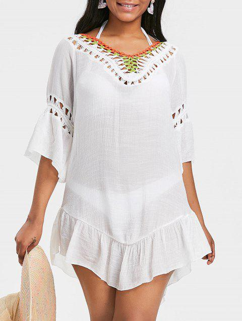 176127b9cc 41% OFF] 2019 Flounce Pom Pom Backless Cover Up Dress In WHITE ...