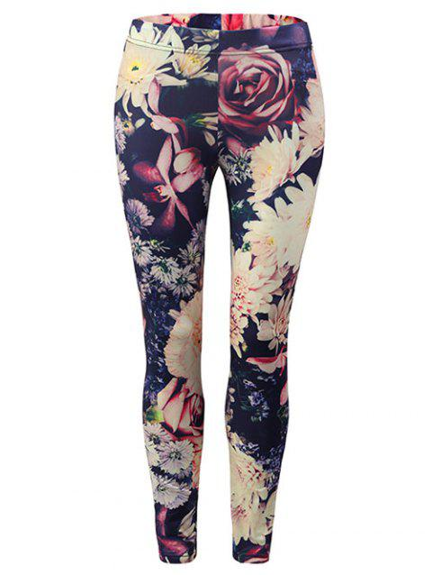 Floral Skinny Leggings - multicolor XL