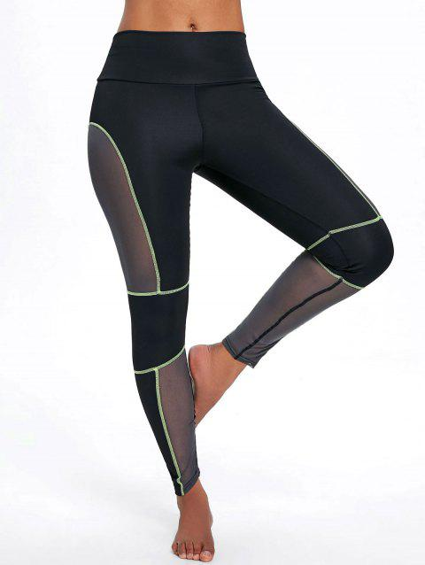 Sports See Through Mesh Panel  Leggings - GREEN M