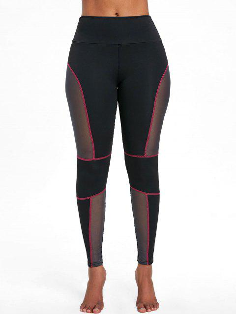 Sports See Through Mesh Panel  Leggings - RED S