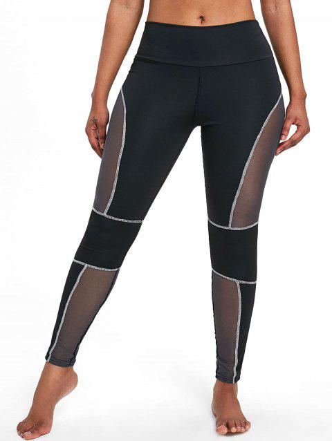 Sports See Through Mesh Panel  Leggings - WHITE L