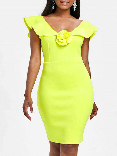 Sleeveless Flounce Bodycon Party Dress - YELLOW L