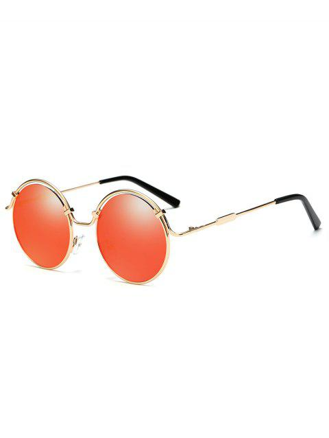 Metal Full Frame Flat Lens Circle Sunglasses - GOLD FRAME / RED LENS