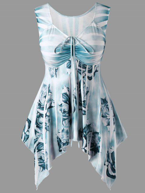 Plus Size Drawstring Floral Handkerchief Top - BLUE GREEN 3XL