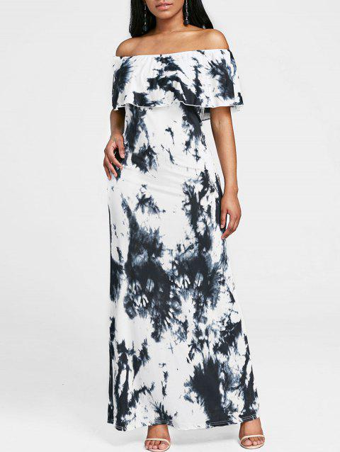 Tie Dye Off The Shoulder Maxi Dress - BLACK XL
