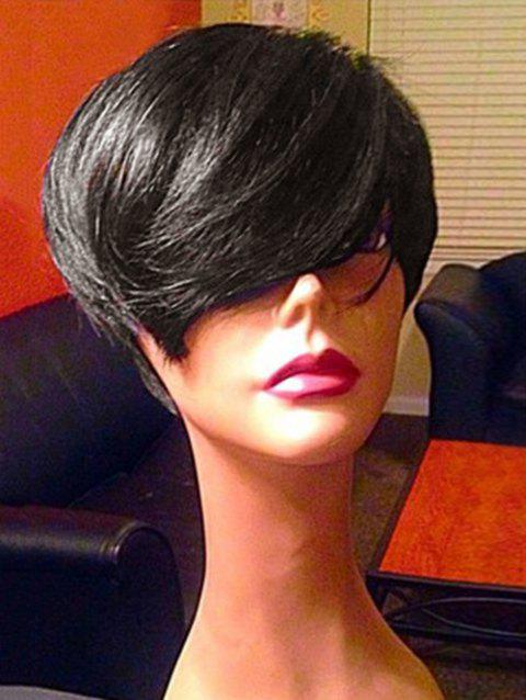 Inclined Bang Straight Short Synthetic Fiber Wig - RED DIRT