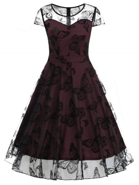 Butterfly Lace Overlay Midi Vintage Dress - RED WINE M