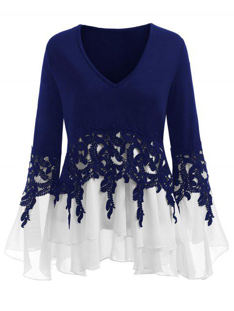 Plus Size Applique Flowy V-neck Blouse - BLUE 3XL