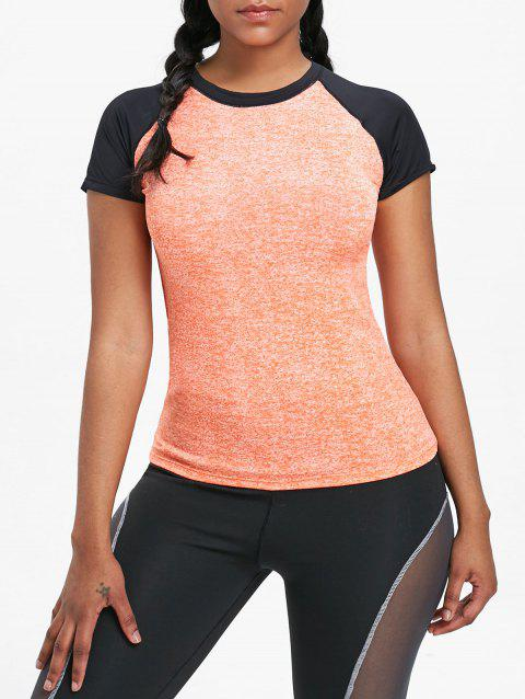 Raglan Sleeve Sports Baseball Tee - ORANGE M
