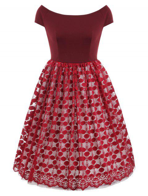 Lace Panel Boat Neck A Line Dress - RED WINE L