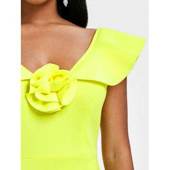 Sleeveless Flounce Bodycon Party Dress - YELLOW M
