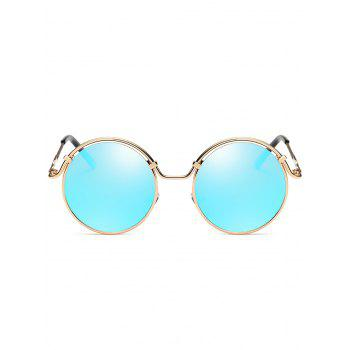Metal Full Frame Flat Lens Circle Sunglasses - GOLE FRAME / BLUE LENS