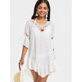 Flounce Sheer Crochet Panel Cover Up Dress - WHITE ONE SIZE