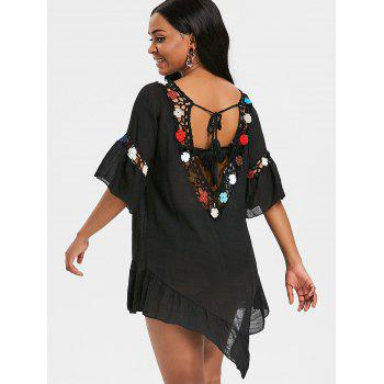 Flounce Sheer Crochet Panel Cover Up Dress - BLACK ONE SIZE
