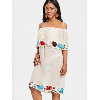 Beach Sheer Crochet Panel Cover Up Dress - BEIGE ONE SIZE