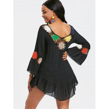 Bell Sleeve Flounce Crochet Trim Cover Up - BLACK ONE SIZE