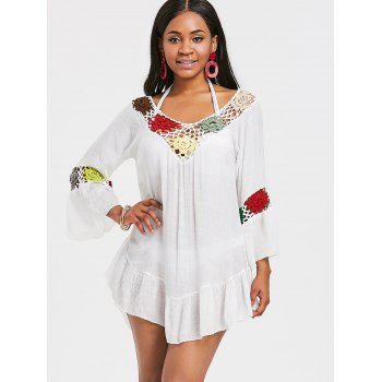 Bell Sleeve Flounce Crochet Trim Cover Up - WHITE ONE SIZE