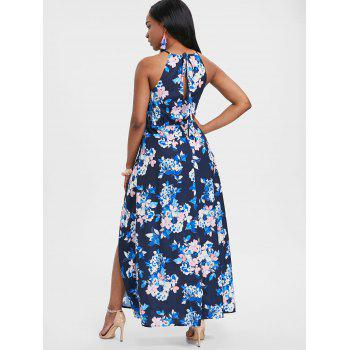 Floral Print Back Cut Out Maxi Dress - multicolor S