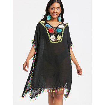 Crochet Insert Tassel Cover Up Dress - BLACK ONE SIZE