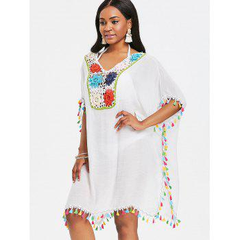 Crochet Insert Tassel Cover Up Dress - WHITE ONE SIZE