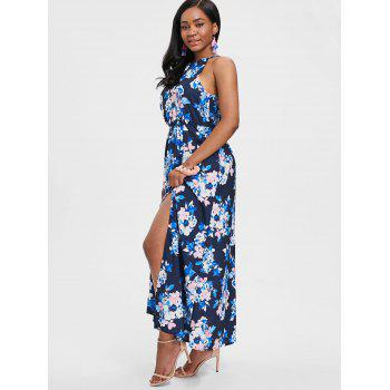 Floral Print Back Cut Out Maxi Dress - multicolor XL