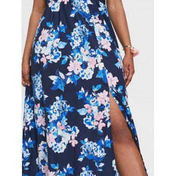 Floral Print Back Cut Out Maxi Dress - multicolor 2XL