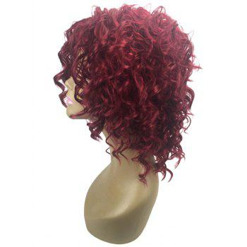 Medium Center Parting Shaggy Curly Party Synthetic Wig - RED WINE