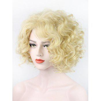 Short Side Bang Fluffy Curly Party Synthetic Wig - BEIGE