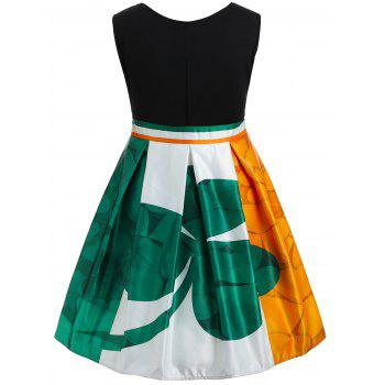 Plus Size Leaf Print Color Block Dress - multicolor L