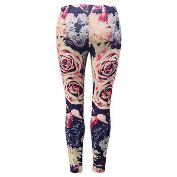 Floral Skinny Leggings - multicolor M