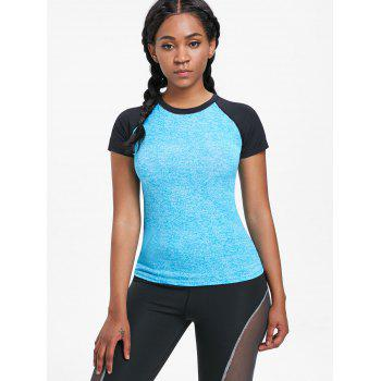 Raglan Sleeve Sports Baseball Tee - BRIGHT BLUE L