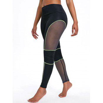 Sports See Through Mesh Panel  Leggings - GREEN S